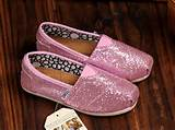 Cheap Toms Shoes Glitter For Kids Rose