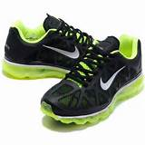 Womens Nike Air Max 2011 Mesh black/green running shoes for sale